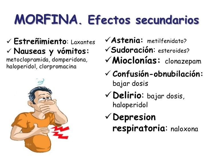 Resultado de imagen de efectos secundarios morfina