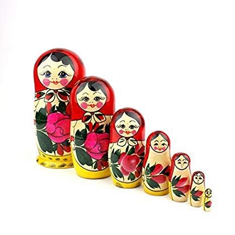 Muñecas Rusas, 7 Matrioskas Rojas de Estilo Semiónov Clásico | Muñeca Babushka de Madera Hecha a Mano en Rusia | Semiónov Rojo, 7 Piezas, 18 cm